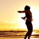silhouette woman beach