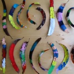 preschool toddler sprint nature art rainbow painted seed pods
