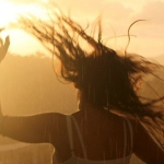 girl_dance_rain_hair_sun_ray_fence_sky_trees_55168_3840x1200