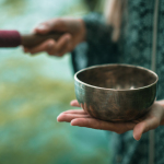 Singing Bowl ,  One Woman Only, Toned Image, Outdoors By The Lak