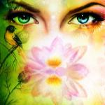 pair-of-beautiful-blue-women-eyes-beaming-up-enchanting-from-behind-a-blooming-rose-lotus-flower-jozef-klopacka